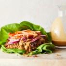 Edamame Lettuce Wrap Burgers with Peanut Sauce