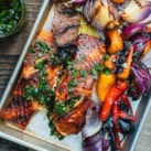 Grilled Salmon with Sweet Peppers