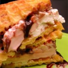 Jersey Shore Ice Cream Sandwiches - Frozen waffles turn vanilla, strawberry, and chocolate ice cream into a deliciously sweet and easy ice cream sandwich.