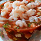 Tomato Shrimp Ceviche - Baby shrimp are marinated in tomato sauce, creating a great dip for parties and entertaining!