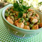 Crunchy Pea and Water Chestnut Salad - Green peas and water chestnuts combine with a vinaigrette dressing for a crunchy colorful salad that is perfect for picnics or lunch.