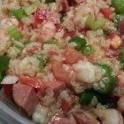 Jambalaya Salad - This is a New Orleans-style salad with shrimp, ham, bacon, rice, and Creole seasonings.