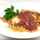 My Chicken Parmesan - Your family will love this recipe for Parmesan cheese-coated chicken tenderloins served with pasta and sauce with a blanket of melted Italian-blend cheese over all.