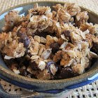 Crunchy Peanut Butter, Chocolate, Coconut Granola - This granola recipe is loaded with chocolate chips, coconut, and sunflower seeds and coated in honey and peanut butter for a sweet and crunchy snack or breakfast treat.