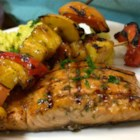 BBQ Salmon and Fruit Skewers - Salmon coated with your favorite barbecue sauce is grilled and served with colorful grilled skewers of pineapple, peach, red bell peppers, and mangos.