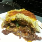 Linda's Irish Shepherd's Pie - This is a delicious potato and meat pie topped with bubbly cheese.  We love this pie that my wife surprised me with one night.  She used to make it back home in Ireland.