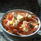 Carrot Salad - This cold carrot salad is sweetened by the addition of raisins, pineapple and marshmallows.  Serve with sliced ham.