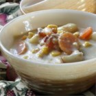 Ham Bone Chowder - Leftover ham bones are a perfect addition to potato and corn chowder in the slow cooker for a warm and comforting weeknight dinner.
