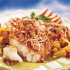 Utokia's Pecan Coconut Crusted Fish - Fish fillets with a coconut-pecan coating are baked until just done and served with a delightful pineapple-mango salsa.