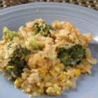 Broccoli-Corn Casserole - This broccoli casserole is topped with buttery round crackers.