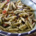 Pesto Penne Primavera - Fresh pesto with fresh asparagus, zucchini, and pasta deliver a great spring-time dish to the dinner table.
