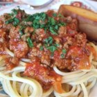 Kay's Spaghetti and Lasagna Sauce - This sauce came from a good friend's Italian mother-in-law. It is easy, and by far the best homemade sauce I know of. Great for both spaghetti and lasagna. Pssst...the secret is the sugar! Also, as I am now vegetarian, it tastes great with out the meat! Just substitute two tablespoons olive oil for the beef.