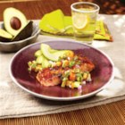 Marinated Grilled Salmon with Avocado and Stone Fruit Salsa - Great easy recipe that is healthy and refreshing!  Use your favorite stone fruit for this salsa!  Any fish that is good for grilling can be substituted for salmon.