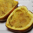 Pineapple Cinnamon Stuffed Acorn Squash -  The hardest part of this recipe is cutting the squash in half and scooping out the seeds. The rest is a snap. Cook the squash, scoop out pulp and mix with pineapple and yummy spices. Stuff the squash and pop into the oven again until bubbly and fragrant.