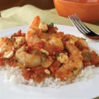 Shrimp with Tomato and Feta - This one-dish meal with shrimp in a tomato and wine sauce is sprinkled with crumbled feta cheese and served over rice.
