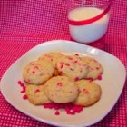 Cherry Chip Cookies I - A chip cookie with a difference! Light, crispy and eggless, these cookies are a great after school treat with a cold mug of milk.
