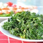 Mediterranean Kale - Steamed kale is tossed in a bright and lemony dressing in this easy side dish.