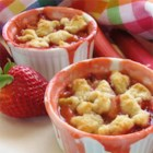 Rhubarb, Strawberry, and Blueberry Cobblerette - A richly-flavored cobbler made with rhubarb, strawberries, and blueberries is thickened with tapioca and sweetened with raw sugar.