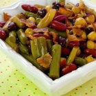 Fabulous Hot Five Bean Salad - Canned beans never had it so good. You can pick and choose your favorite beans for this dish, because the cooking method is what makes this salad zing. The beans are simmered in bacon drippings and a sweetened vinegar/cornstarch mixture that coast each bean and makes a thick delicious sauce.