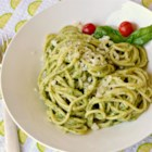 Light Lemon Pesto Pasta - Light, yet full of flavor, this pesto is perfect tossed with hot spaghetti for a quick dinner.