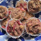 Strawberry Rhubarb Muffins - Bite into a burst of tangy fruit flavor in these healthful muffins made with amaranth, rice and bread flours.