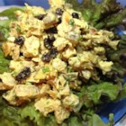 Curry Chicken Salad with Grapes - Curry chicken salad with grapes, almonds, and parsley is a nice salad topper, filling for a croissant, or a snack simply eaten with a fork.