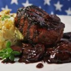 Filet Mignon with Mushroom-Cabernet Gravy - Tender beef filets are seared, then simmered briefly to perfect doneness in a red wine and mushroom sauce enlivened with fresh thyme.