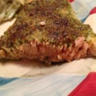 Stephan's Broiled Salmon Pesto - Fresh salmon fillets--or a whole side of salmon--is slathered in pesto and then broiled until a crisp crust forms. This is equally good cold; the entire dish can be made a day in advance. It goes well with rosemary- and garlic-roasted red potatoes and any green vegetable.