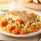 Golden Chicken with Noodles from Birds Eye(R) - Browned chicken breasts and carrots are simmered in broth, tossed with hot cooked egg noodles and grated Parmesan cheese for a weeknight meal that's ready in 20 minutes.