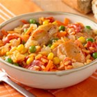 Spanish Chicken and Rice from Birds Eye(R) - Chunks of chicken and lots of veggies and rice with Sazon seasoning make a quick and delicious one-dish meal that's perfect for busy weeknights.