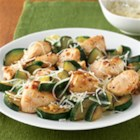 Garlic Chicken and Zucchini - Chunks of chicken and zucchini are quickly browned in a skillet, then tossed with grated Parmesan cheese, and served with hot cooked rice for a quick and delicious weeknight meal.