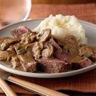 Mushroom Smothered Steak - Sirloin steak is cooked stovetop and sliced, then served with browned mushrooms in a buttery balsamic sauce.