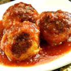BBQ Meatballs - Get out your biggest pot!  This recipes makes tons of yummy meatballs simmered in a tangy barbeque sauce - perfect for a big gathering.  I always get lots of requests for this one.