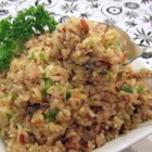 Ke's Cajun (Dirty) Rice - This brown rice dish made with ground turkey gets a Cajun kick from onion, green pepper, and seasonings. Serve as a side with another Cajun dish, or just enjoy as a light supper by itself.