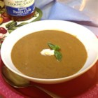 HERDEZ(R) Pumpkin Mole Soup - This rich soup gets its warm spiciness from pasilla peppers and its dark depth of flavor from chocolate. We make a meal of it with an avocado-lime salad and some bread.