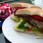 Star-Spangled Burgers - These tasty red, white, and blue burgers use red bell pepper and blue cheese to make any Memorial Day, 4th of July, or Labor Day barbeque that much more special!