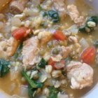 Mongo Guisado (Mung Bean Soup) - This bean soup uses mung beans simmered in chicken broth with prawns and diced pork.