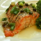 Roasted Salmon with White Wine Sauce - Salmon is simply seasoned and baked, then served with a light wine sauce.