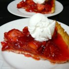 Strawberry Pie V - This recipe makes 2 pies. A gelatinous topping made with cornstarch and strawberry flavored gelatin is poured over fresh strawberries. Serve with whipped cream.