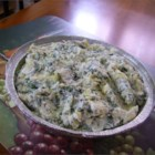 Really Wicked Spinach Artichoke Dip - Greek yogurts lends a creamy tanginess to this spinach and artichoke dip with Asiago, fontina, and cream cheeses.
