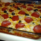 Pepperoni Pizza Casserole   - This cheesy noodle casserole made with mushrooms, pepperoni, and lots of mozzarella cheese has the flavor of pizza.