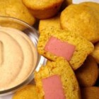 Mini Southwestern Corn Pup Muffins with Fiesta Dipping Sauce - This recipe is a great alternative to the fried corn dogs, and they taste just as good. Serve with the Fiesta Dipping Sauce recipe provided, or use your favorite corn dog condiments.