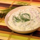 Tzatziki Sauce with Dill - Drain some low-fat yogurt overnight to make this yummy cucumber and dill flavored dressing.