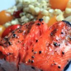 Lee's Salmon Baste - Grilling salmon is a summer favorite. This recipe offers a basting sauce with lemon juice, butter, and Catalina salad dressing to make your salmon even more delicious.