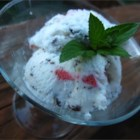 Simple Mint Chocolate Chip Strawberry Ice Cream - Strawberries and dark chocolate are folded into homemade mint ice cream for a quick and easy frozen treat with only 6 ingredients.