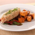 KRAFT RECIPE MAKERS Asian Almond Salmon - This Asian-inspired baked salmon with stir-fry peppers and snow peas is so easy when you use deliciously seasoned prepared sauces.
