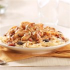 KRAFT RECIPE MAKERS Shrimp Puttanesca - Shrimp are quickly cooked in a zesty sauce with chopped anchovies, kalamata olives, and red pepper flakes then  tossed with angel hair pasta in this Italian-inspired dish.