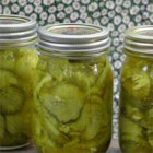 Deb's Bread and Butter Pickles - These pickles use apple cider vinegar, celery seed, turmeric, and mustard seed and need 2 weeks in the jar.