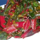 Simple Swiss Chard - Swiss chard cooked with garlic and balsamic vinegar. Quick and delicious!