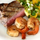 Surf and Turf for Two - Marinated shrimp and lightly seasoned steak are grilled together for a delightful surf and turf for two.